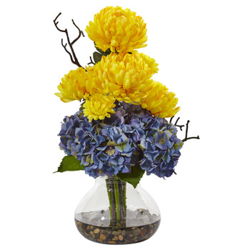 Hydrangea and Mum in Vase - SKU #1452-YB